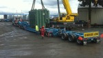 Lifting 140000 lb transformer onto truck