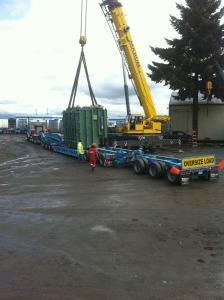 Lifting 140000 lb transformer onto truck